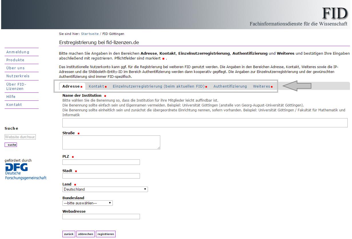 Institution - Registrierungsformular